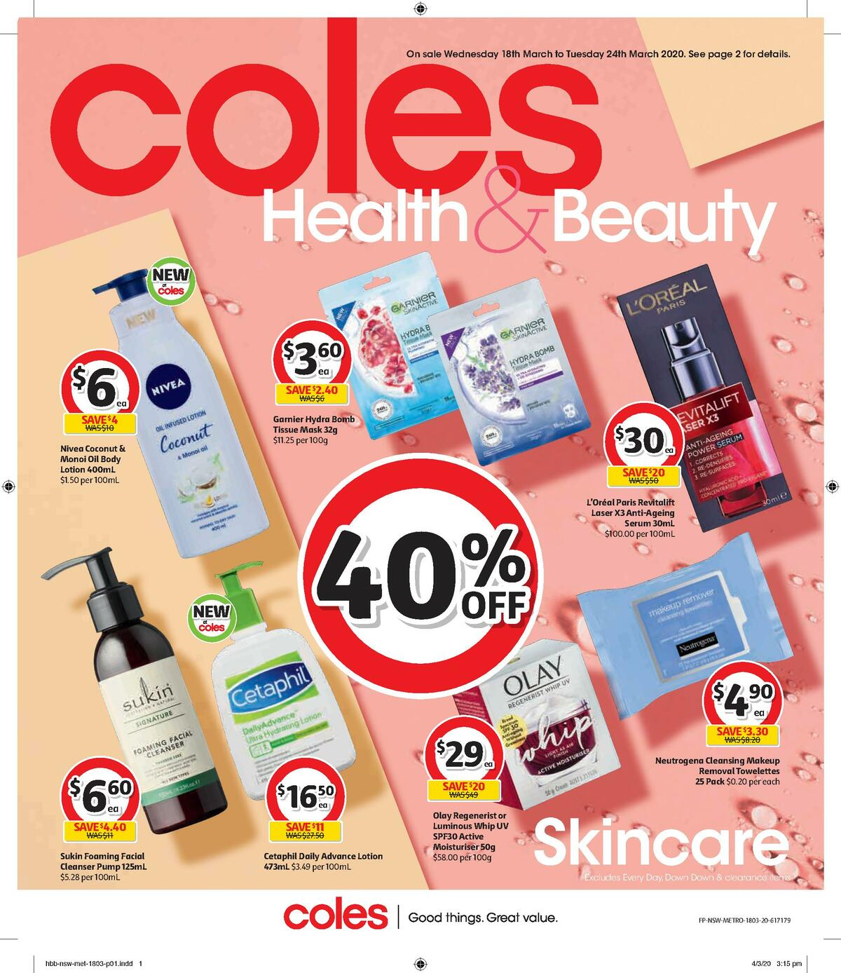 Coles Health & Beauty Catalogues from March 18