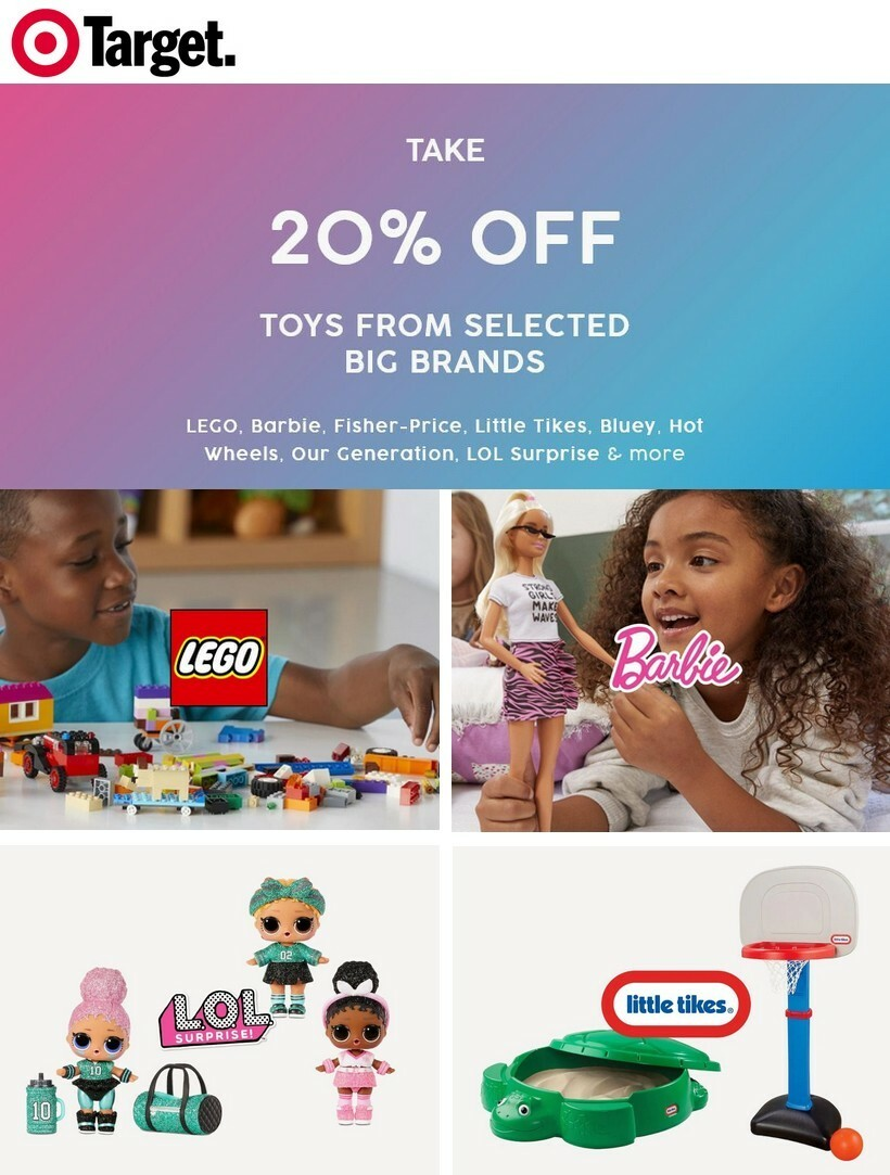 Target 20% OFF TOYS FROM THESE BIG BRANDS & MORE Catalogues from July 6