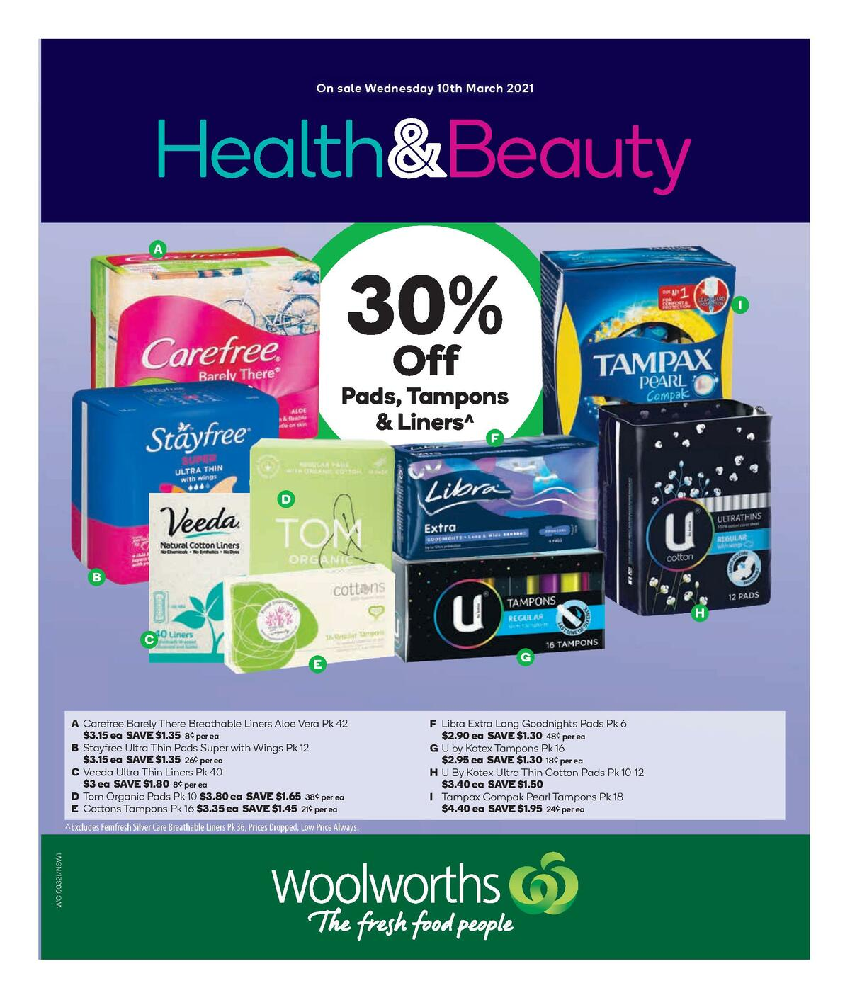 Woolworths Health & Beauty Catalogues from March 10