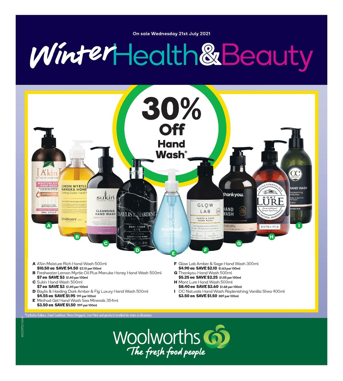 Woolworths Health & Beauty Catalogues from July 21